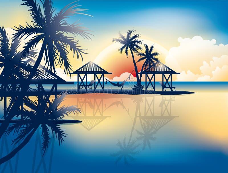 Sunset Landscape On The Sea Vector Wallpaper Beach Hammock