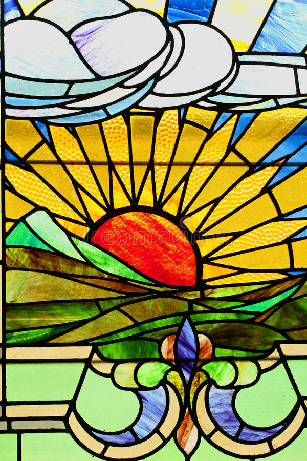 Download Sunset Landscape In Stained Glass Stock Photo - Image: 30472990