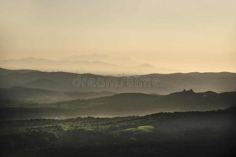 Sunset landscape Tuscany. Image of landscape near Roccastrada Tuscany Italy at sunset in autumn royalty free stock photography