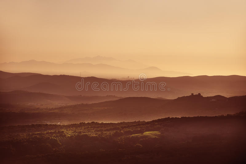 Sunset landscape Tuscany. Image of landscape near Roccastrada Tuscany Italy at sunset in autumn royalty free stock images