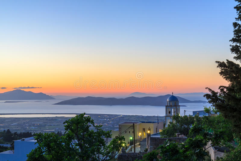 Sunset landscape. Sunset view from Asfendiou village in Kos island Greece stock photos