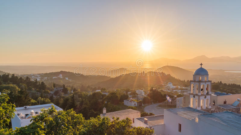 Sunset landscape. Sunset view from Asfendiou village in Kos island Greece stock photography