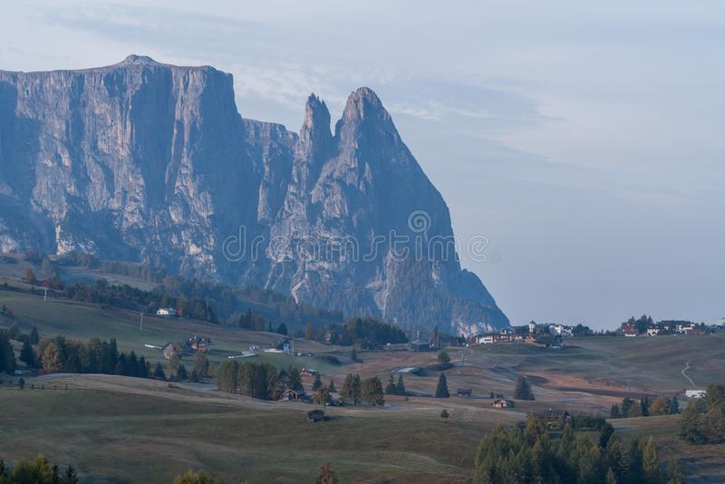 Sunset landscapes on Alpe di Siusi with Sassolungo or Langkofel Mountain Group in Background in autumn, South Tyrol, Italy.  royalty free stock photos