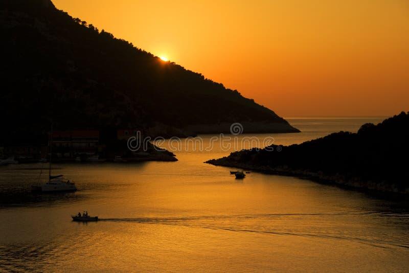 Sunset on Lastovo island stock photo