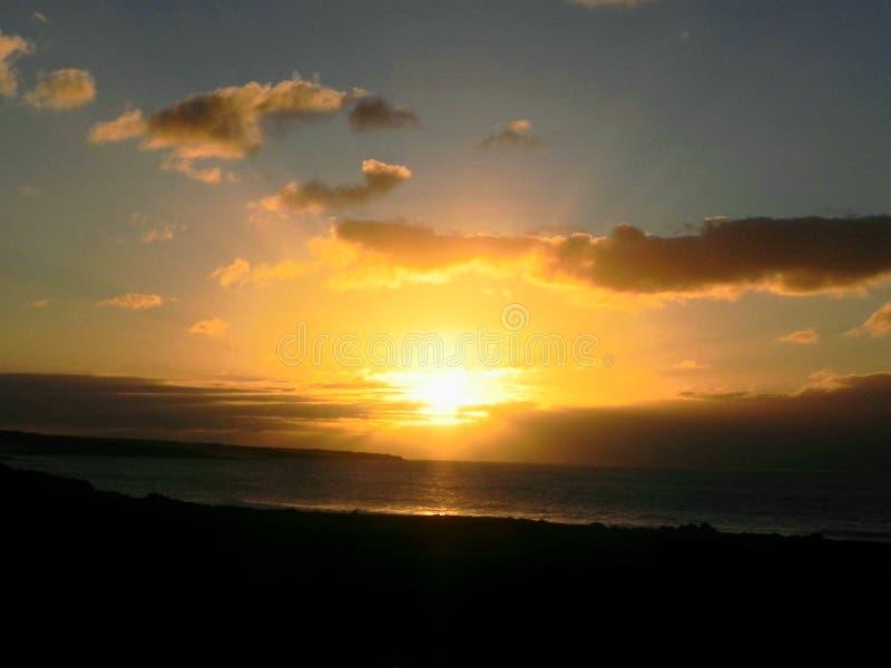 Sunset on the lava fields,  November royalty free stock photo