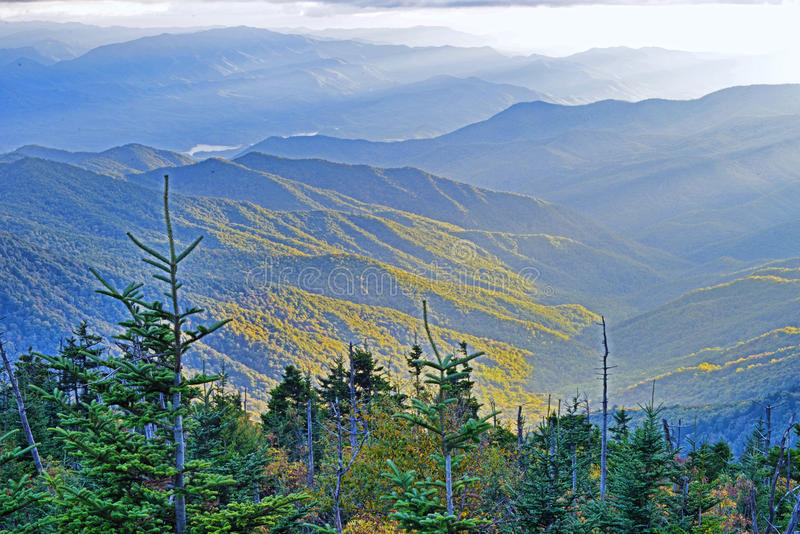 Sunset of layers from Clingman's Dome in the Smoky Mountains. stock photos