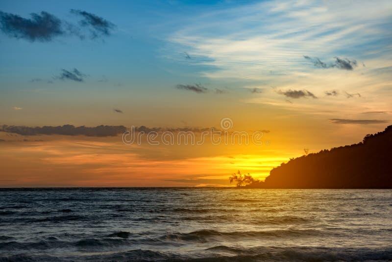 Sunset at Lazy Beach on the Koh Rong Samloem stock image