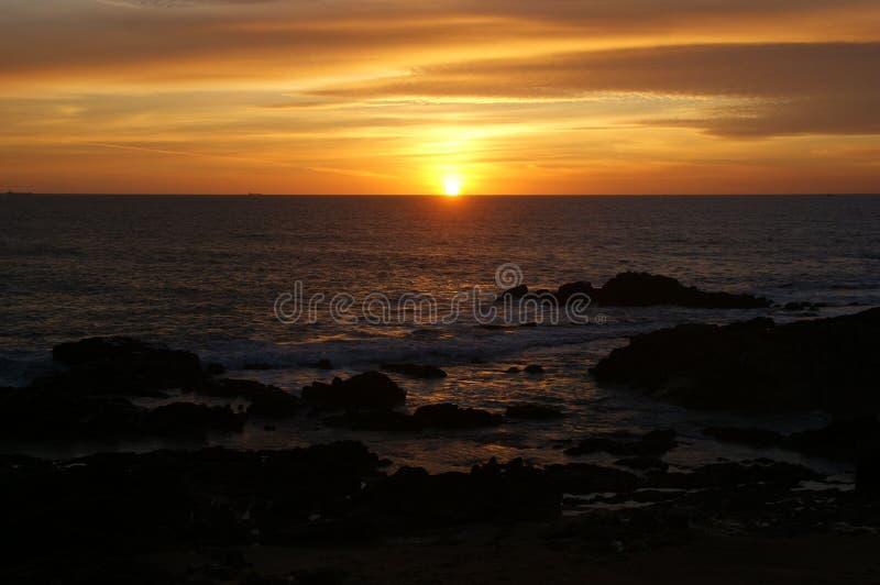 Sunset in Leca da Palmeira beach stock image