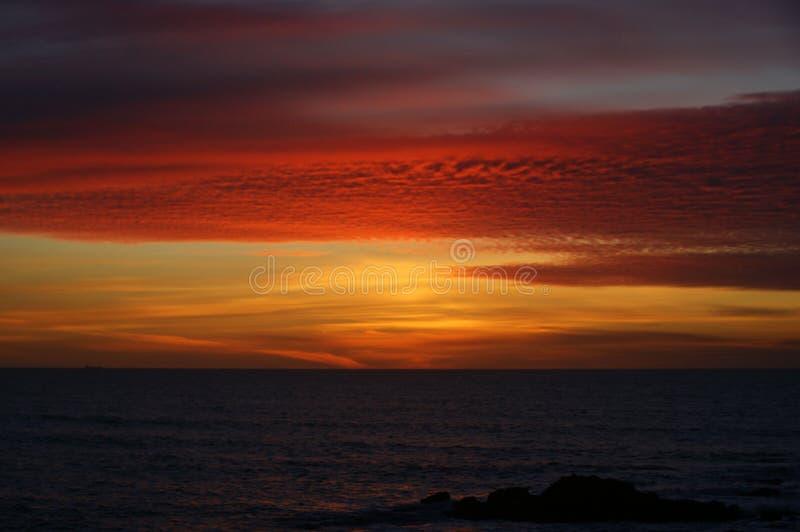Sunset in Leca da Palmeira beach royalty free stock image