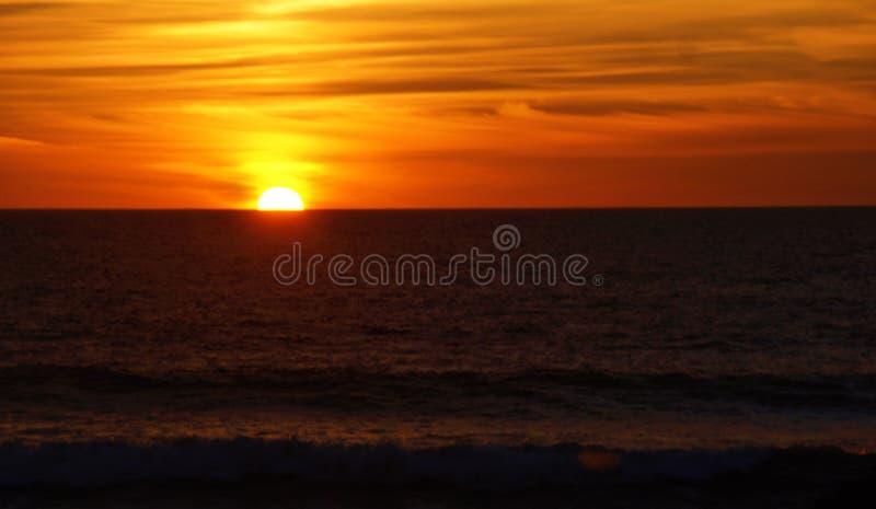 Sunset in Leca da Palmeira beach royalty free stock images