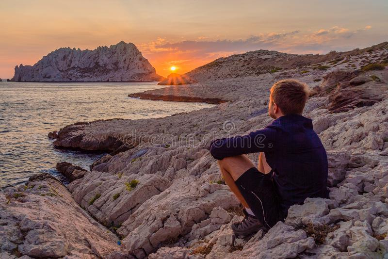 Sunset in Les Goudes, close to Marseille stock images
