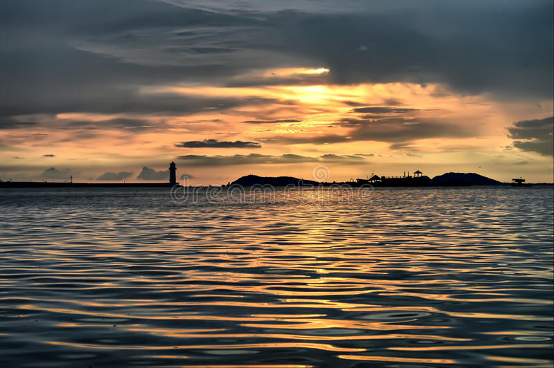 Sunset lighthouse royalty free stock photos