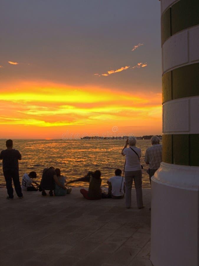 Sunset, lighthouse, sea, organs, zadar, croatia, colors, sea, love, looking, meditation, travel peace, sunset, sunrise royalty free stock images