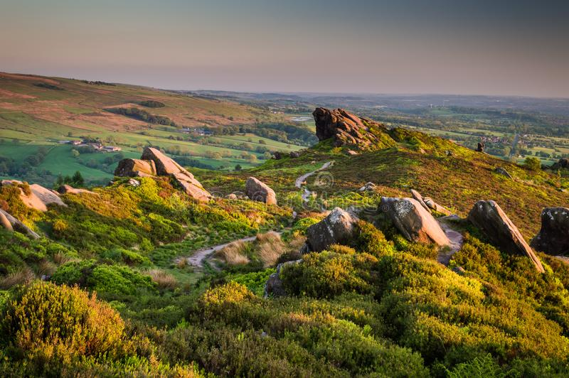 Sunset lights the heather and rocks at Ramshaw Rocks, near the Roaches in the Peak District National Park. royalty free stock photography