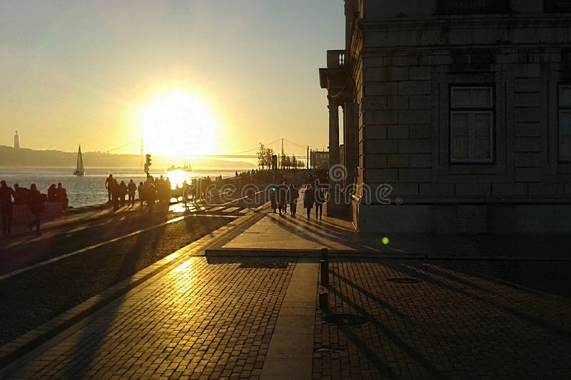 Sunset in Lisbon stock image