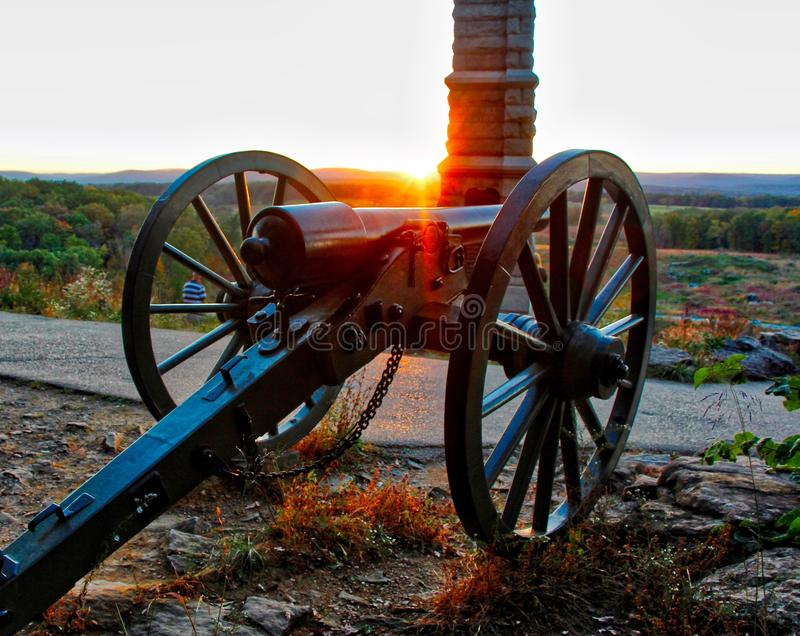 Sunset on Little Round Top. A beautiful sunset on Little Round Top at Gettysburg, Pennsylvania battlefield royalty free stock image