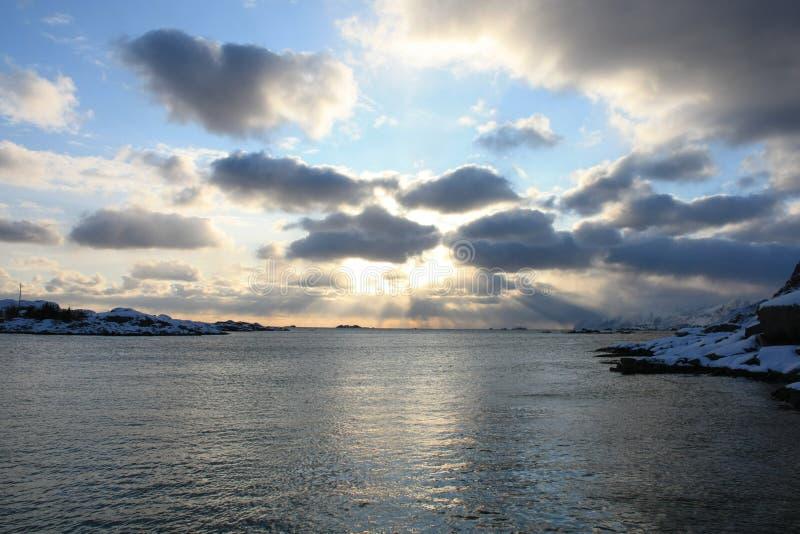 Sunset in Lofoten. Sunset in Kraemmervika's bay, Lofoten islands royalty free stock images