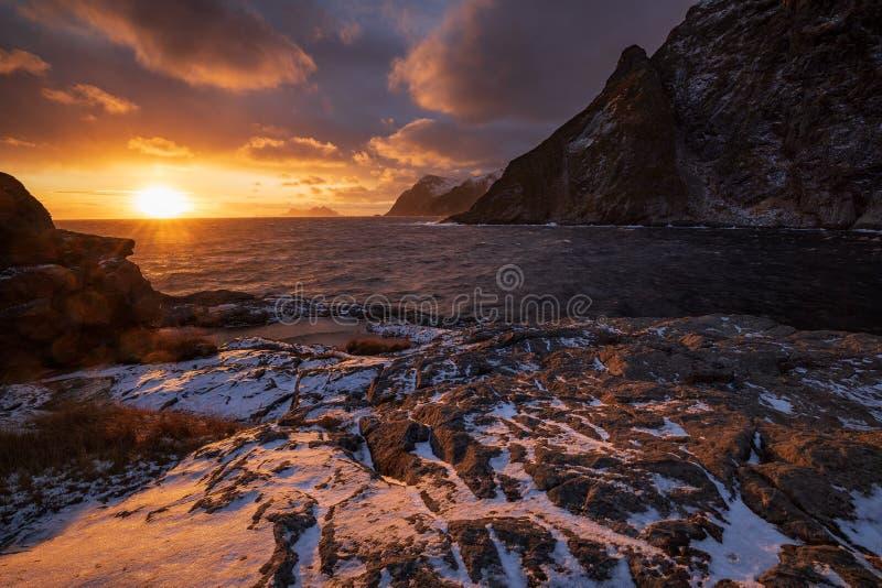 Sunset in Lofoten fjord, Norway royalty free stock photos