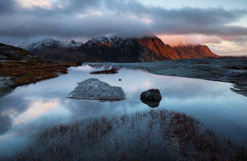 Sunset in Lofoten fjord, Norway royalty free stock image