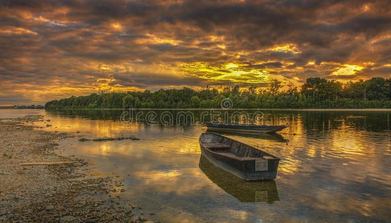 Sunset On The Loire River In France Stock Photo