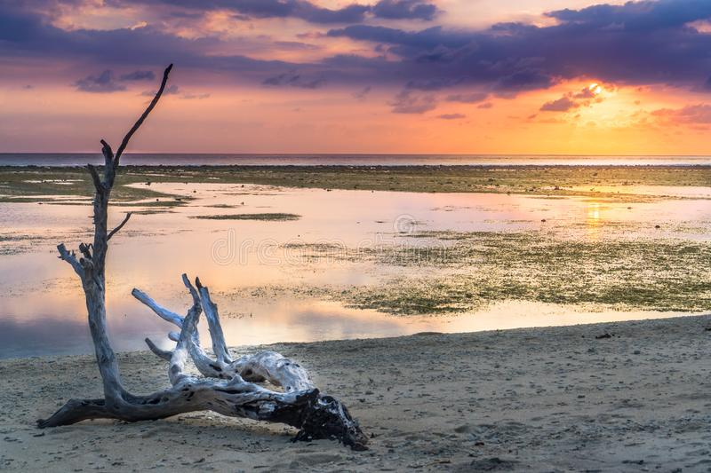 Sunset in Lombak - Gili T stock photography