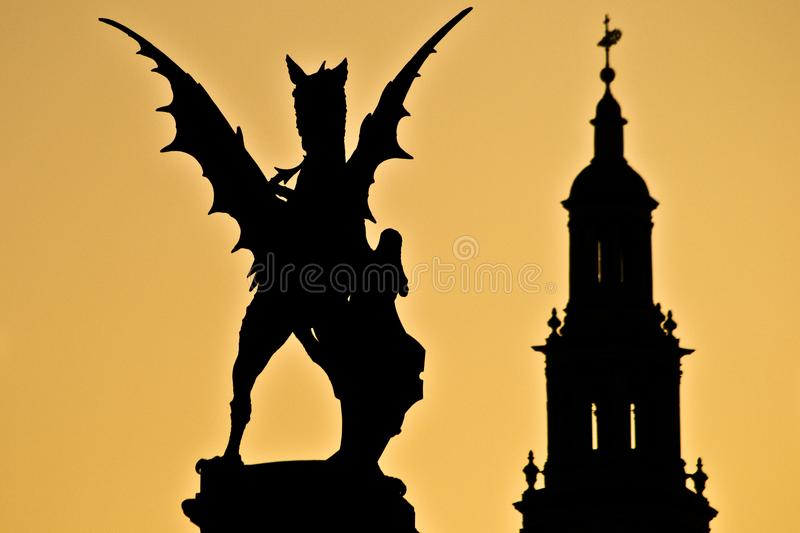 Sunset london statue England church far away stock images