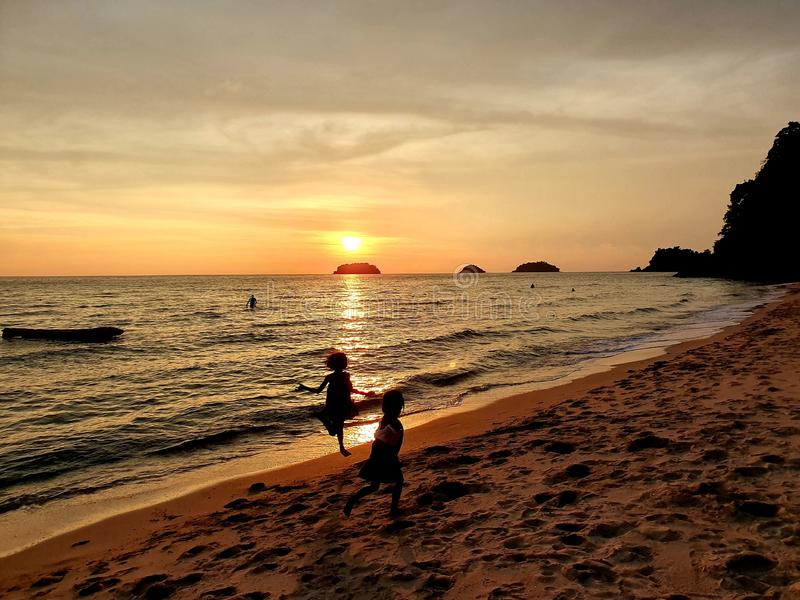 The sunset lonely beach koh chang stock photo
