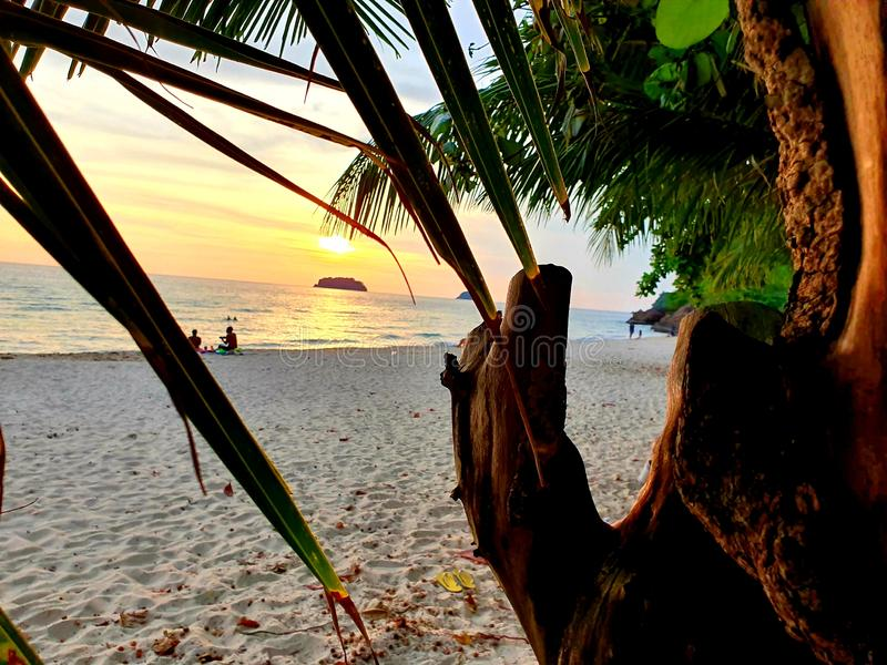 Sunset lonely beach koh chang royalty free stock image