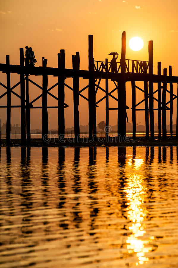 Download Sunset At The U Bein Bridge, Myanmar Stock Photo - Image of silhouette, sunset: 29881072