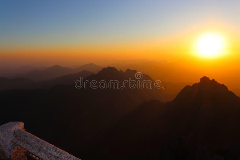 Sunset on lotus peak at Huangshan Yellow Mountains in China stock photo