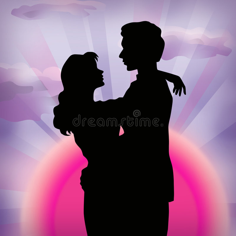 Sunset and lovers royalty free stock photos