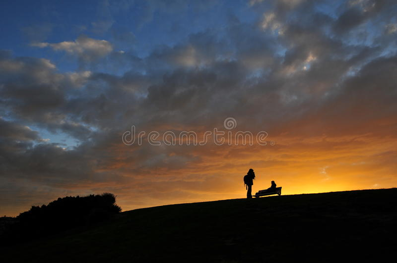Sunset with lovers royalty free stock photography