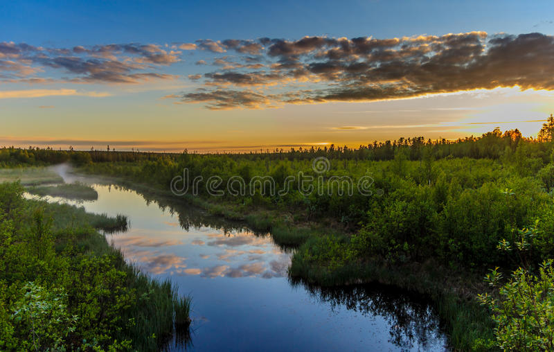 Sunset in Lovozero tundra stock photo