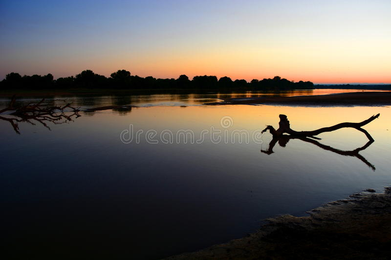 Sunset on Luangwa river. South Luangwa National Park. Zambia stock images