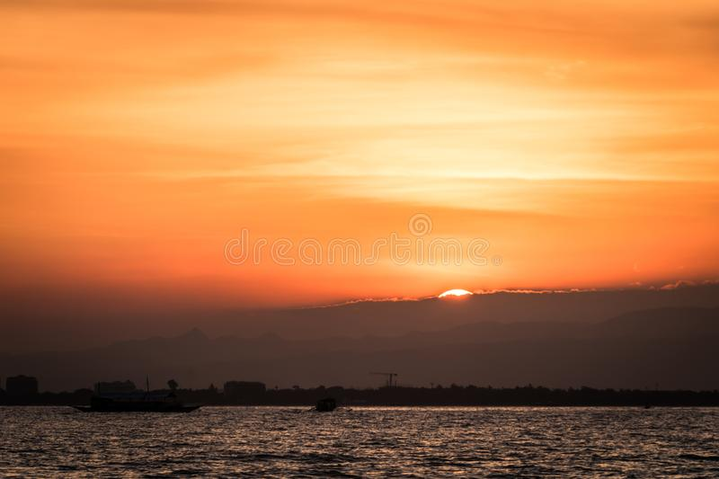 Sunset on Mactan, Cebu Island. While coming back from our boat trip stock image