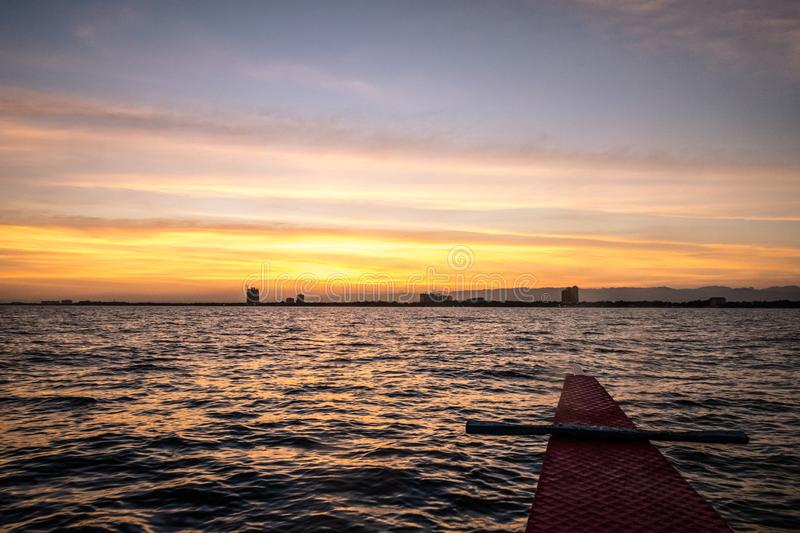 Sunset on Mactan, Cebu Island. While coming back from our boat trip royalty free stock photos