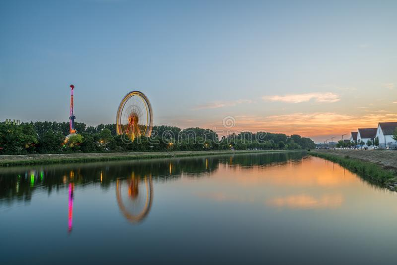 Sunset on the Maidult in Regensburg, Germany.  royalty free stock photography
