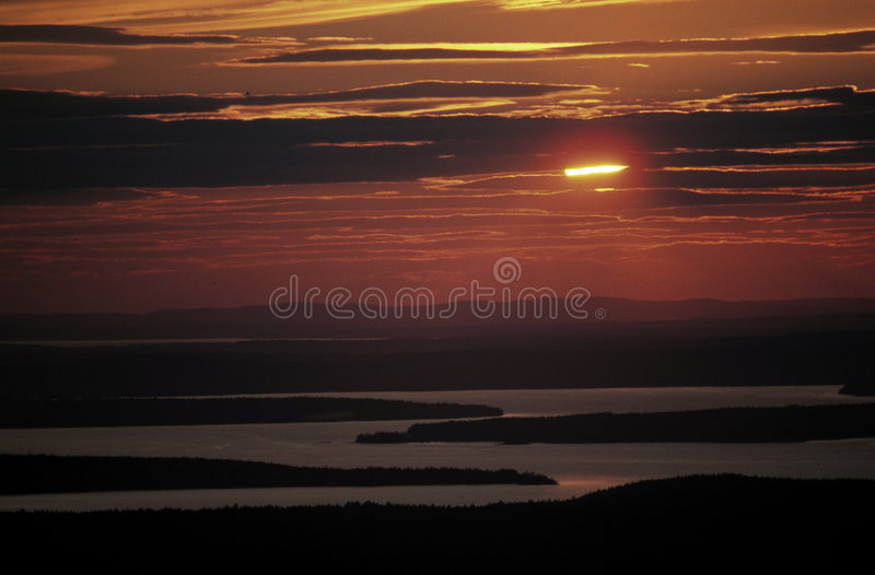 Sunset in Maine, USA stock image