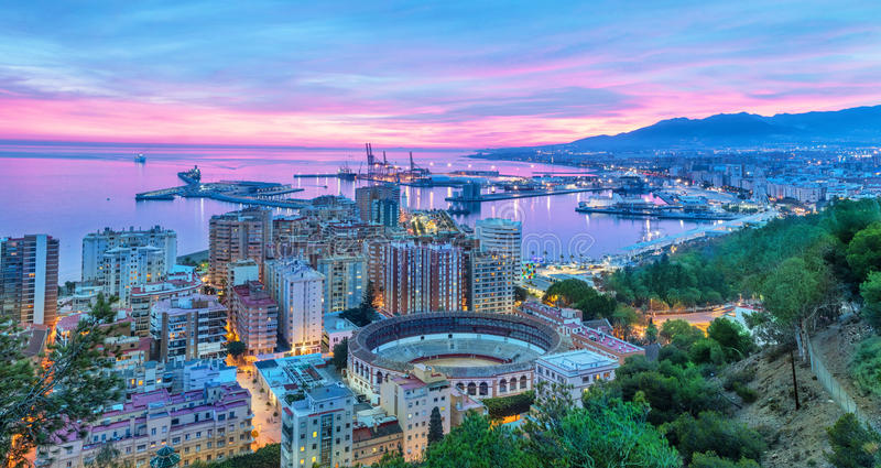 Sunset in Malaga - aerial view stock photos