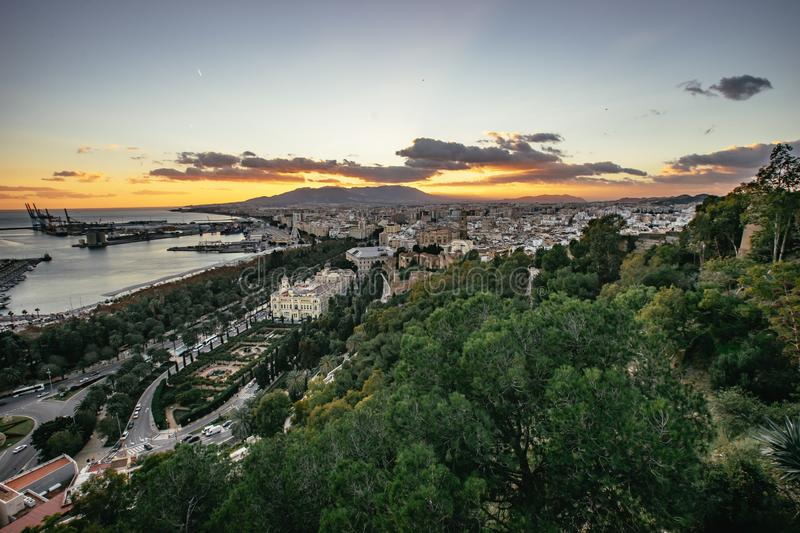 Sunset in Malaga. Beautiful view at the docks. stock photography
