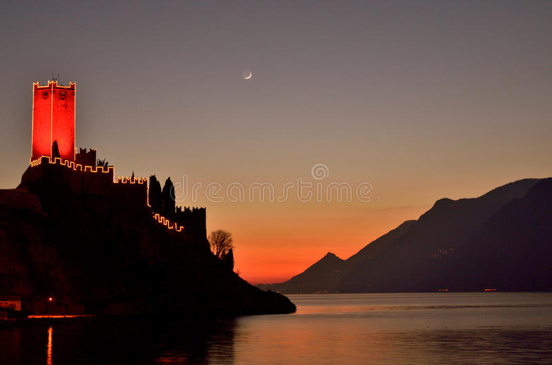 Sunset at Malcesine royalty free stock image