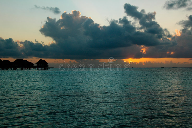 Sunset in Maldives. Beautiful sunset in the Maldives royalty free stock photos