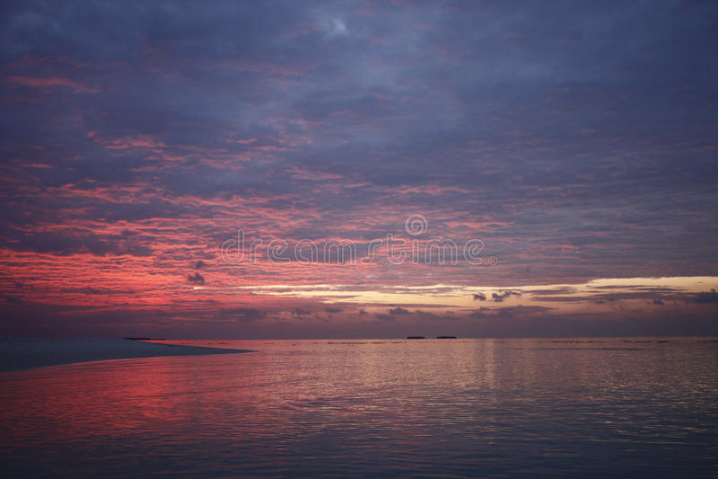 Sunset on the Maldives resort island royalty free stock photo