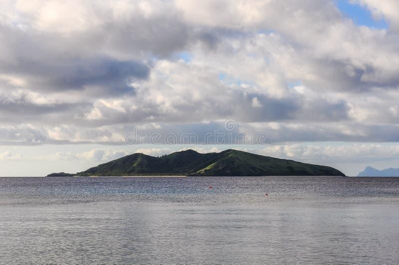 Sunset on Mana Island in Fiji stock image