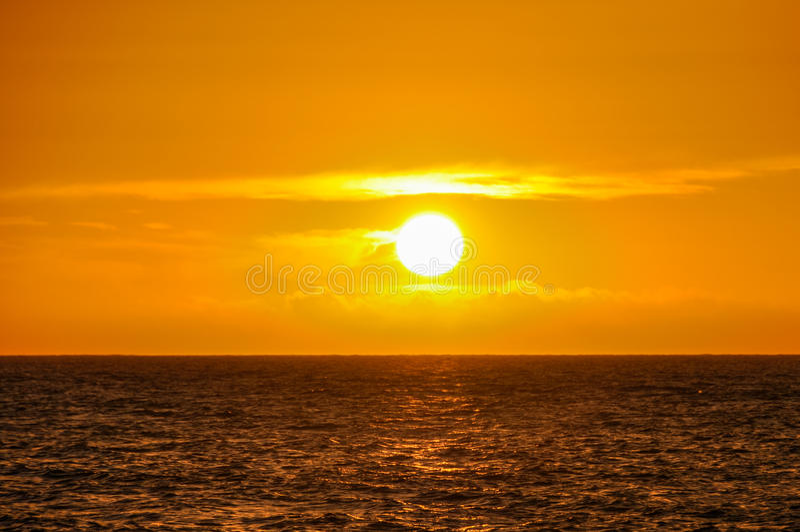 Sunset on Mana Island in Fiji royalty free stock images