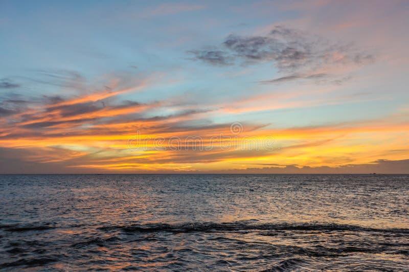 Sunset on Mana Island in Fiji stock photography