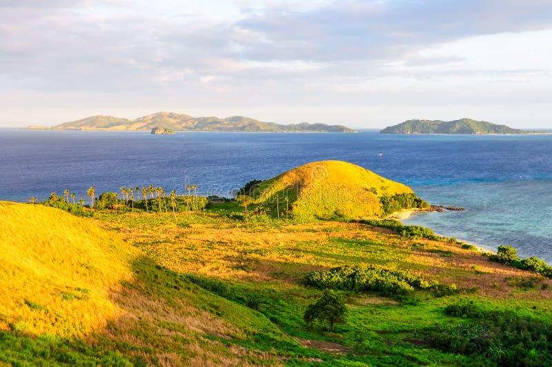 Sunset on Mana Island in Fiji stock photo