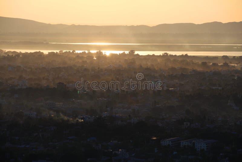 Sunset in Mandalay. Myanmar, Mandalay, view from Mandalay Hill on sunset stock photos