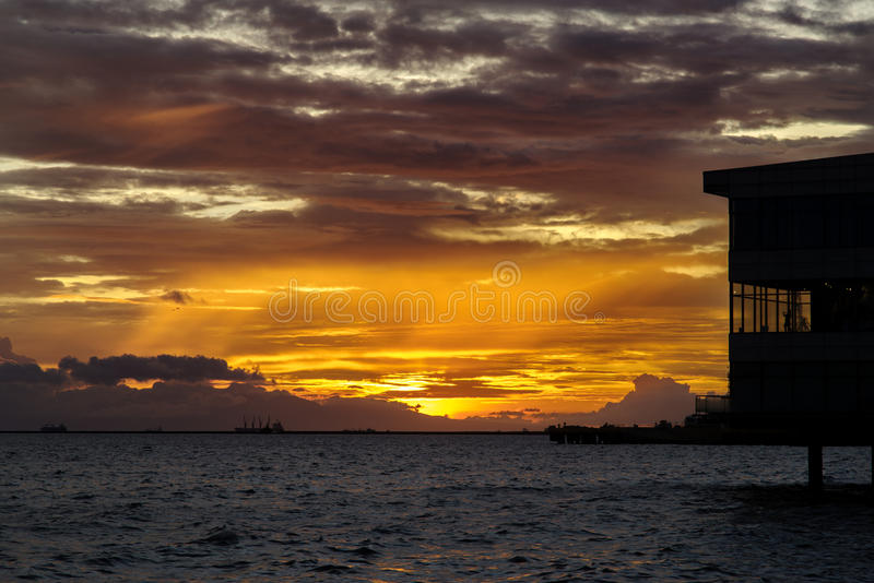 Sunset in Manila Bay. Philippines stock photos