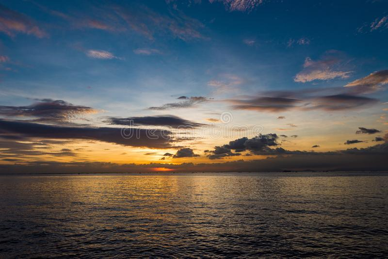 Sunset in Manila. Close to Bay City stock images
